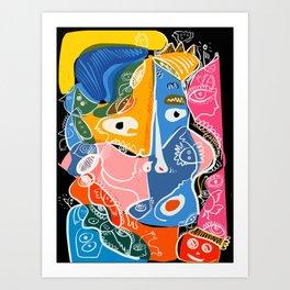 Cubist Graffiti Art Portrait By Emmanuel Signorino  Art Print