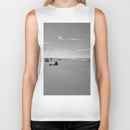 low tide sand beach sunny summer day at ouddorp zeeland netherlands europe black white Biker Tank