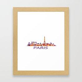 París City Skyline HQ Watercolor Framed Art Print