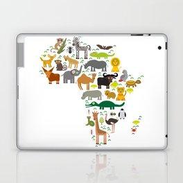 map of Africa: parrot Hyena Rhinoceros Zebra Hippopotamus Crocodile Turtle Elephant Mamba snake Laptop & iPad Skin
