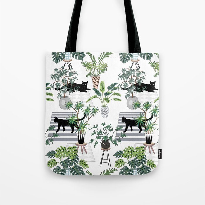 cats in the interior pattern Tote Bag