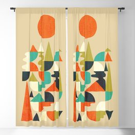 Mountains Hills and Rivers Blackout Curtain