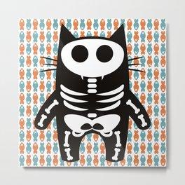 Meow Skeleton Metal Print