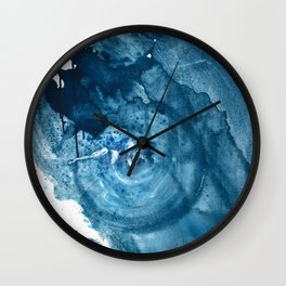 4 am Thoughts [3]: a minimal abstract painting in blue by Alyssa Hamilton Art Wall Clock