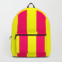 Bright Neon Pink and Yellow Vertical Cabana Tent Stripes Backpack