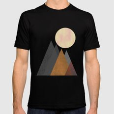 The Gathering, Geometric Landscape Art Black Mens Fitted Tee LARGE