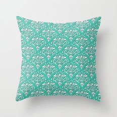 damask pattern torquoise with shadow Throw Pillow