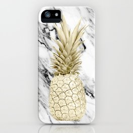 Gold Pineapple on Marble iPhone Case