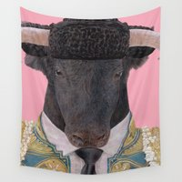 spanish Wall Tapestries featuring Spanish Bull by Rachel Waterman