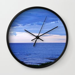 Blue on Blue at the River Mouth Wall Clock