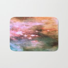 Colorful Pink Sparkle Carina Nebula Abstract Bath Mat