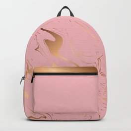 Liquid marble texture design, pink and gold Backpack