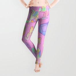 Pastel Goth Crystal Cluster Pattern Pink & Blue Leggings