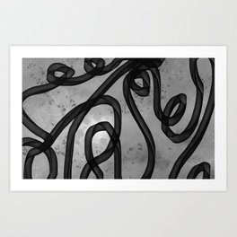 """Galactic Ribbon"" (Black & White) Digital Painting // Fine Art Print Art Print"