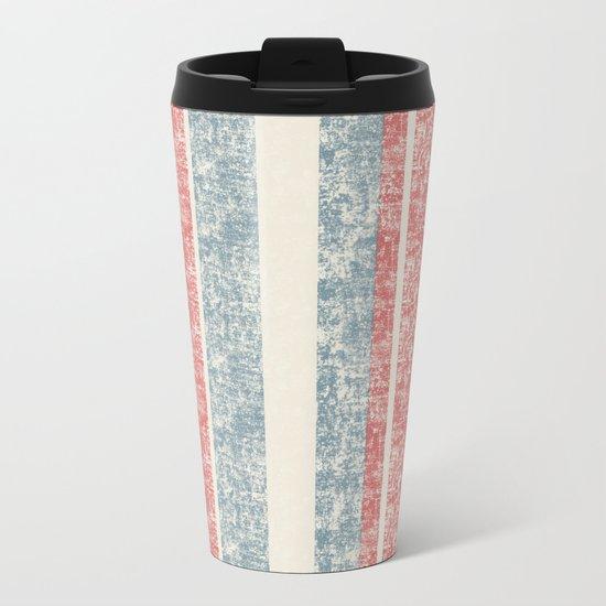 Maritime Navy Stripes Stripe in Red White Blue-Vertical on #Society6 Metal Travel Mug