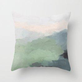 Seafoam Green Mint Black Blush Pink III Abstract Nature Land Art Painting Art Throw Pillow