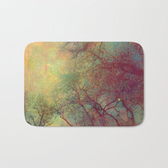 Tree Silhouette, Autumn Sunset Bath Mat
