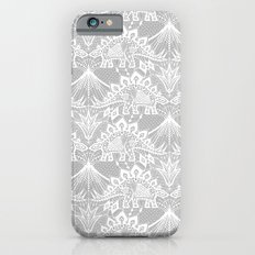 Stegosaurus Lace - White / Silver iPhone 6 Slim Case