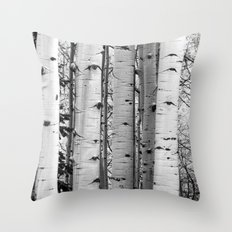 Into the Woods / Black & White Throw Pillow