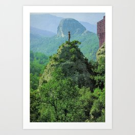 the man and the tower Art Print