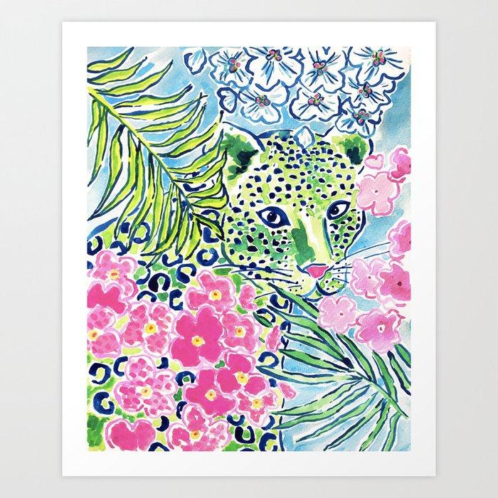 48196a7c1077 Fun Whimsical Preppy Colorful Leopard Art Print by kulati_art   Society6