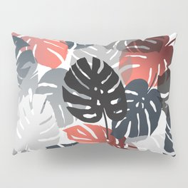 Monstera Pattern color grey orange  Pillow Sham