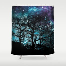 Black Trees Teal Violet space Shower Curtain