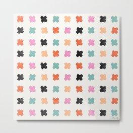 X Grid – Coral & Mint Metal Print