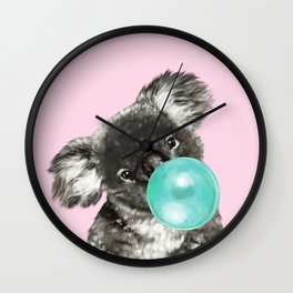 Playful Koala Bear with Bubble Gum in Pink Wall Clock