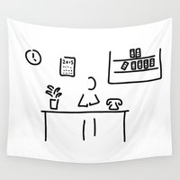 the office Wall Tapestries featuring administration office by Lineamentum