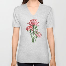 pink and red carnation watercolor painting Unisex V-Neck