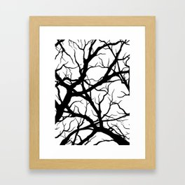 Black n White branche Framed Art Print