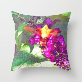 Butterfly Over Fuchsia Flowers Throw Pillow