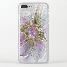 Flourish, Abstract Fractal Art Flower Clear iPhone Case