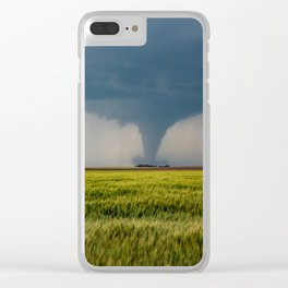 Behind the Scene - Large Tornado Passes Safely Behind a Farmhouse in Kansas Clear iPhone Case