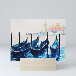 Venice Italy, blue gondolas Mini Art Print