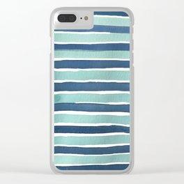 Aqua Teal Stripe Clear iPhone Case
