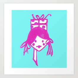 Girl with Gift Art Print