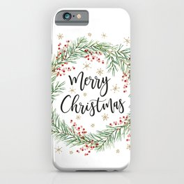 Merry Christmas wreath with red berries iPhone Case
