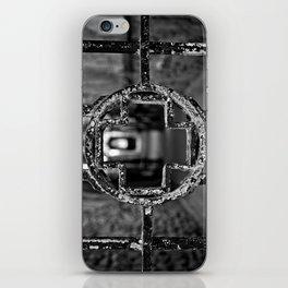 Prison Medical Ward Gate Cross - Black & White iPhone Skin