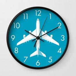 A380 Super Jumbo Jet Airliner - Cyan Wall Clock