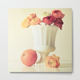 Milk Glass, Tangerine and Flowers Metal Print
