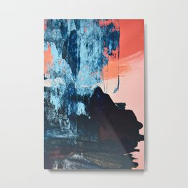 Delight: a vibrant abstract painting in blues and coral by Alyssa Hamilton Art Metal Print
