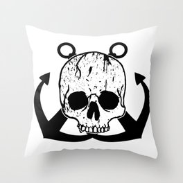 Anchored Jolly Roger Throw Pillow