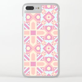 Pink teal yellow ethnic moroccan motif pattern Clear iPhone Case