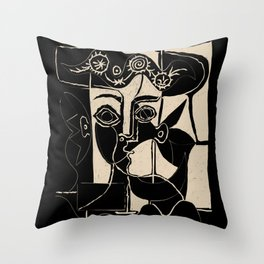 Picasso Woman's head #8 black line Throw Pillow