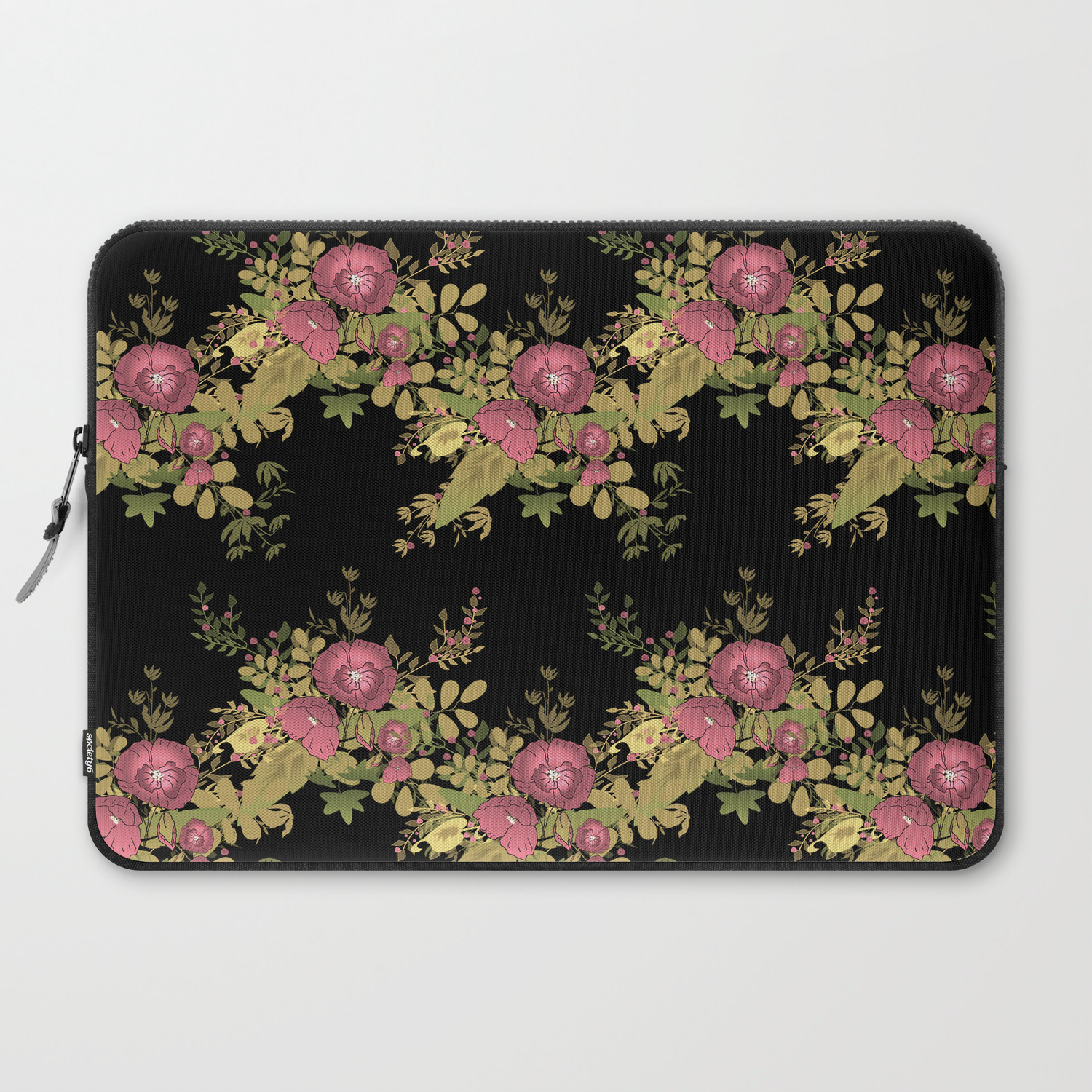Colorful Floral Pattern On A Black Background Laptop Sleeve By