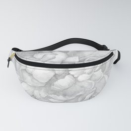Large Gray Peony Watercolor Fanny Pack