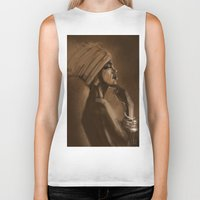 afro Biker Tanks featuring Afro Beauty by Luis Dourado