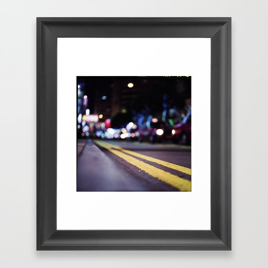 Hong Kong Street Lights Framed Art Print